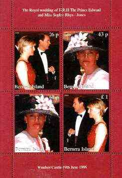Bernera 1999 Royal Wedding (Edward & Sophie) perf sheetlet containing set of 4 values unmounted mint