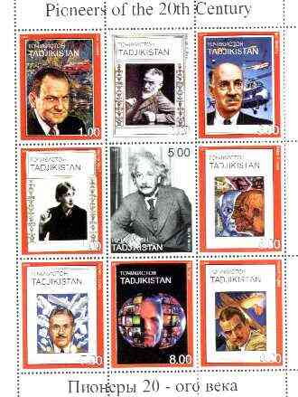 Tadjikistan 1999 Pioneers of the 20th Century perf sheetlet containing set of 9 values  (Einstein, Sikorsky, Picasso, G B Shaw, etc) unmounted mint