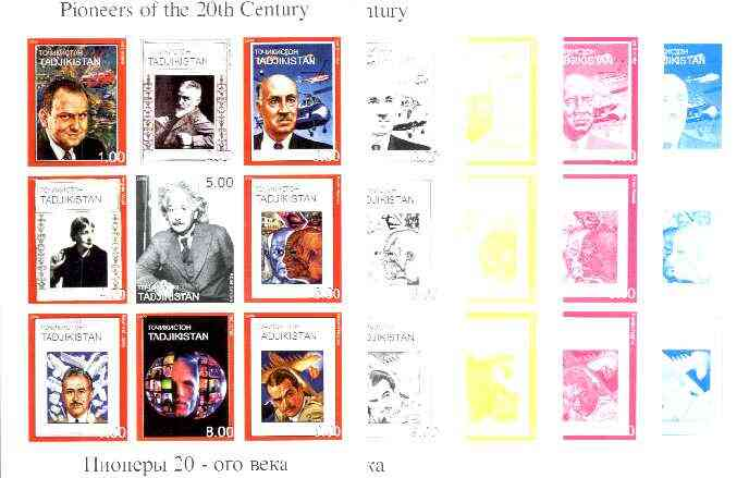 Tadjikistan 1999 Pioneers of the 20th Century sheetlet containing set of 9 values,  the set of 5 imperf progressive proofs comprising the 4 individual colours plus all 4-colour composite , stamps on personalities, stamps on physics, stamps on aviation, stamps on literature, stamps on arts, stamps on picasso, stamps on millennium