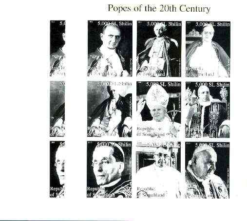 Somaliland 1999 Popes of the 20th Century Culture sheetlet containing set of 9 values, the set of 3 imperf progressive proofs comprising black & yellow individual colours plus completed (2-colour) composite unmounted mint