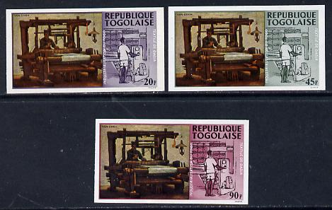 Togo 1968 Paintings of Local Industries 20f, 45f & 90f (Weaver at Loom & Textile Plant) unmounted mint imperf (as SG 578, 80 & 82)