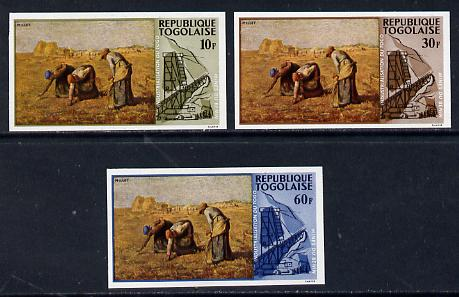 Togo 1968 Paintings of Local Industries 10f, 30f & 60f (Gleaning Millet & Phosphate Mine) unmounted mint imperf (as SG 577, 79 & 81)