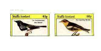 Staffa 1982 Birds #70 (Blue & Cape May Warblers) imperf set of 2 values unmounted mint