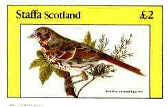 Staffa 1982 Birds #70 (Fox Coloured Sparrow) imperf deluxe sheet (�2 value) unmounted mint