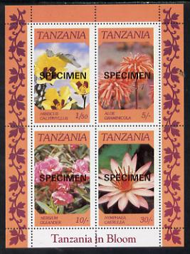 Tanzania 1986 Flowers  m/sheet overprinted SPECIMEN unmounted mint (as SG MS 478)