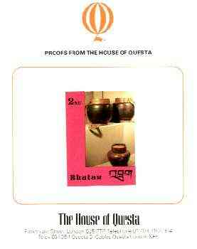 Bhutan 1988c Handcrafts & Antiquities 2.0nu imperf proof on House of Questa card, prepared for use but never issued, rare archive item