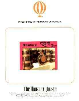 Bhutan 1988c Handcrafts & Antiquities 3.0nu imperf proof on House of Questa card, prepared for use but never issued, rare archive item