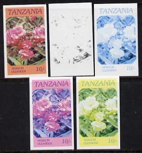 Tanzania 1986 Flowers 10s (Nersium) set of 5 imperf progressive colour proofs unmounted mint (as SG 476)