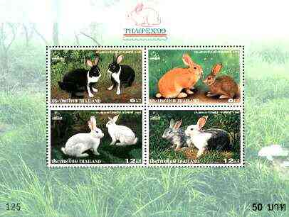 Thailand 1999 'Thaipex 99' Int Stamp exhibition m/sheet containing set of 4 (Rabbits) unmounted mint