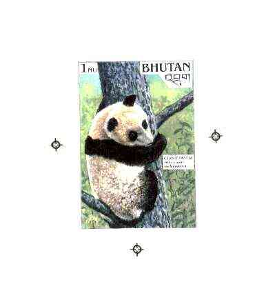 Bhutan 1990 Endangered Wildlife - Intermediate stage computer-generated artwork (as submitted for approval) for 1nu (Giant Panda) twice stamp size similar to issued desig...