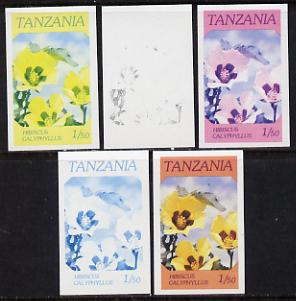 Tanzania 1986 Flowers 1s50 (Hibiscus) set of 5 imperf progressive colour proofs unmounted mint (as SG 474)