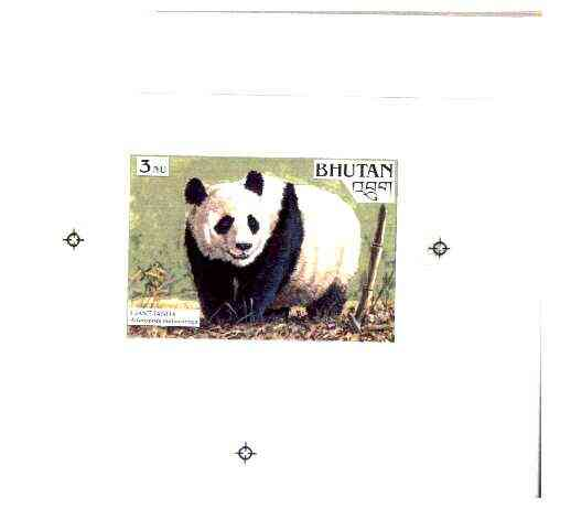 Bhutan 1990 Endangered Wildlife - Intermediate stage computer-generated artwork (as submitted for approval) for 3nu (Giant Panda) twice stamp size similar to issued desig...