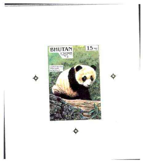 Bhutan 1990 Endangered Wildlife - Intermediate stage computer-generated artwork (as submitted for approval) for 15nu (Giant Panda) twice stamp size similar to issued desi...