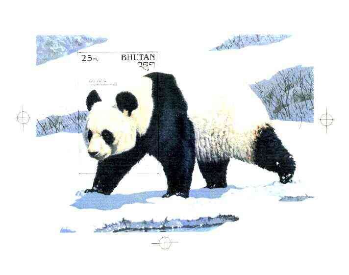 Bhutan 1990 Endangered Wildlife - Intermediate stage computer-generated artwork (as submitted for approval) for 25nu m/sheet (Giant Panda) 200 x 140 mm as issued design b...