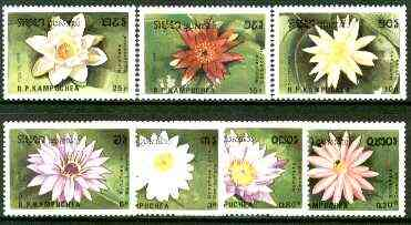 Kampuchea 1989 Water Lilies complete set of 7 unmounted mint, SG 985-91*