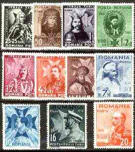 Rumania 1938 Boy Scouts Fund (8th Anniversary of Accession) set of 11 unmounted mint,  Mi 553-63