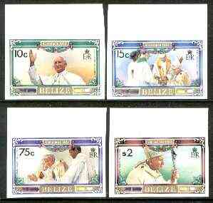 Belize 1983 Christmas (Pope John Paul II) set of 4 unmounted mint marginal imperfs, extremely rare, as SG 761-65