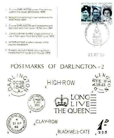 Postcard of Postal Markings of Darlington used with illustrated Darlington Philatelic Counter cancel (published by Darlington PS)