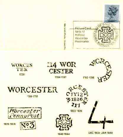 Postcard of Postal Markings of Worcester used with illustrated 'Historic Worcester Postmarks' first day cancel (Midlands Postal Board Card MPB 17)