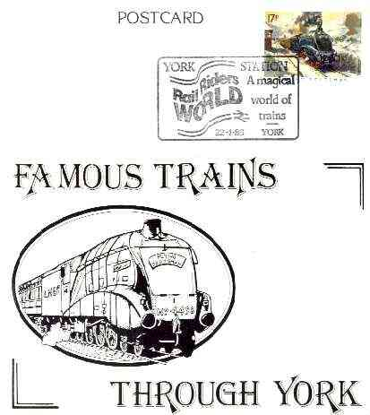 Postcard of Famous Trains Through York (Flying Scotsman) bearing 'Flying Scotsman' stamp with illustrated 'York Station Rail Riders World' cancel