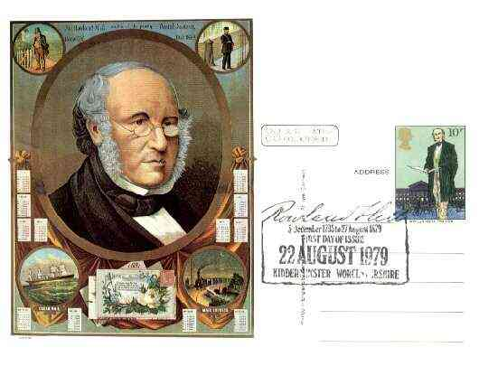 Postcard of Sir Rowland Hill (in colour) bearing Rowland Hill stamp with special illustrated first day cancel (Wyre Forest District Council card)