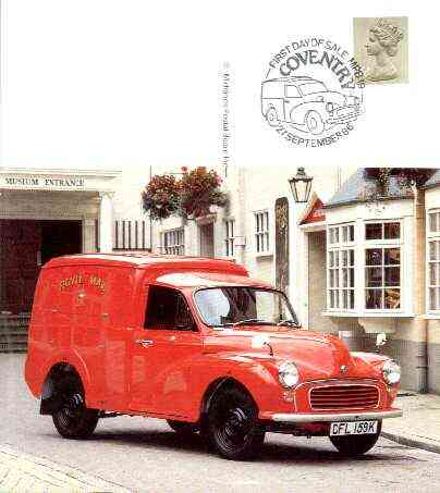 Postcard - Great Britain Morris Minor 1000 Post Office Van (Midlands Postal Board card MPB 19) used with illustrated Coventry cancel