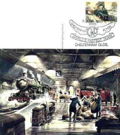 Postcard of Cheltenham Flyer (PO picture card SWPR 26) used with special illustrated first day cancel