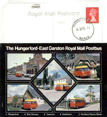 Postcard of Hungerford-East Garston Postbus (PO picture card SEPR 8/2) used with Hungerford first day cancel