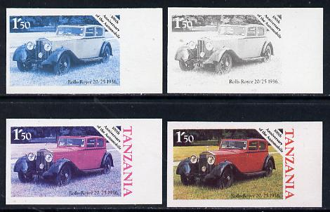 Tanzania 1986 Centenary of Motoring 1s50 Rolls Royce 20/25 set of 4 imperf progressive colour proofs unmounted mint (as SG 456)