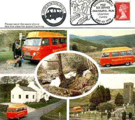 Postcard of Grizedale Forest Postbus used with illustrated Grizedale first day cancel & Posted on Postbus cachet