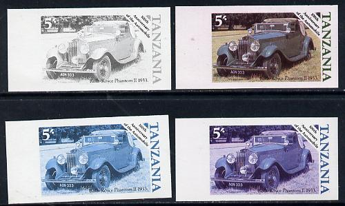 Tanzania 1986 Centenary of Motoring 5s Rolls Royce Phantom set of 4 imperf progressive colour proofs unmounted mint (as SG 457)