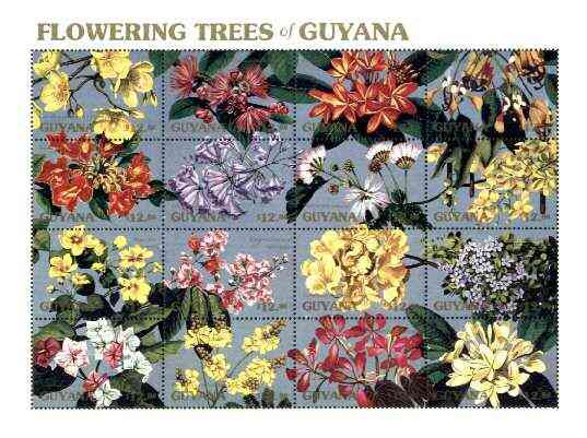 Guyana 1990 Flowering Trees sheetlet containing set of 16 values unmounted mint, Sc #2371
