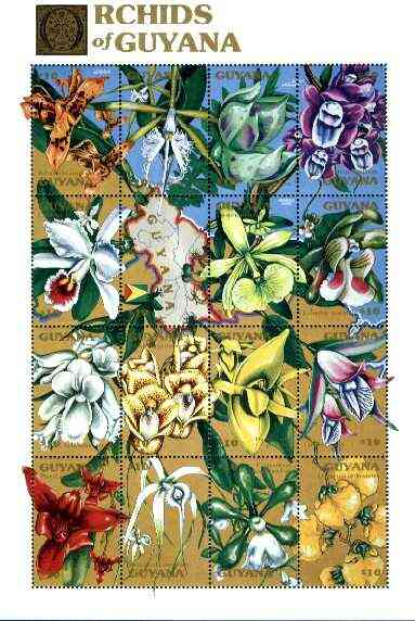Guyana 1990 Orchids of Guyana sheetlet #02 containing set of 16 values unmounted mint, Sc #2368