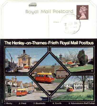 Postcard of Henley on Thames - Frieth Postbus (PO picture card SEPR 2/1) used with Henley on Thames first day cancel, stamps on postal, stamps on buses