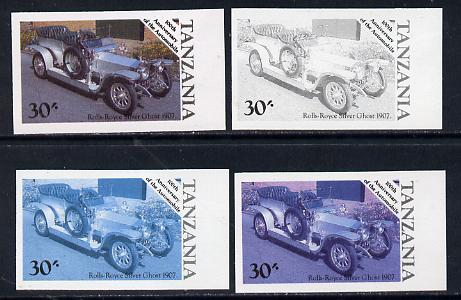 Tanzania 1986 Centenary of Motoring 30s Rolls Royce Silver Ghost set of 4 imperf progressive colour proofs (as SG 459) unmounted mint