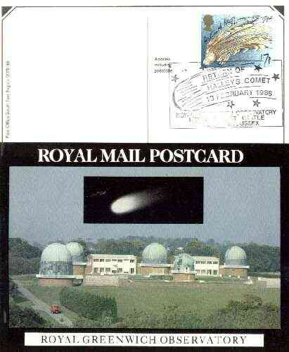Postcard of Royal Greenwich Observatory (with Halley's Comet) (PO picture card SEPR 48) used with illustrated Halley's Comet first day cancel