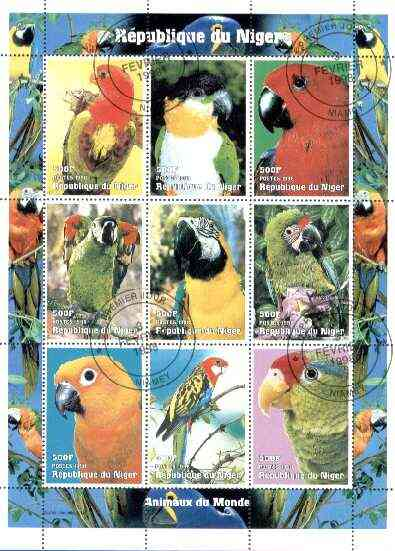 Niger Republic 1998 Parrots sheetlet containing 9 values cto used