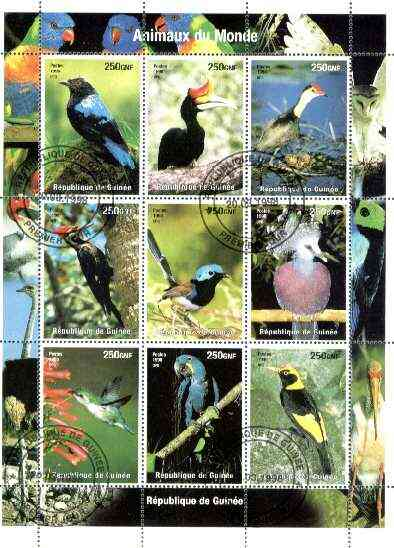 Guinea - Conakry 1998 Animals of the World #1 - Birds perf sheetlet containing 9 values fine cto used