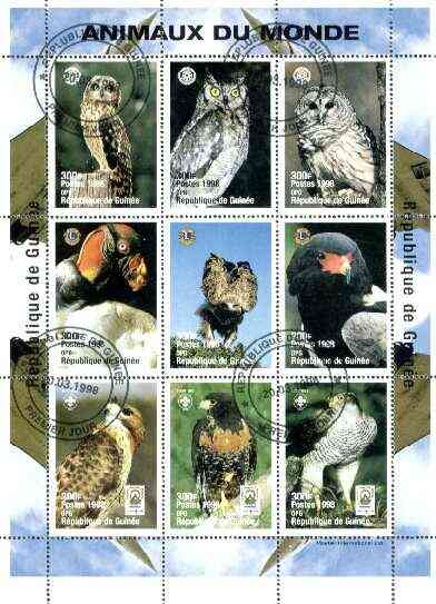 Guinea - Conakry 1998 Animals of the World #2 - Birds perf sheetlet containing 9 values (with Rotary, Lions Int & Scout Logos) cto used