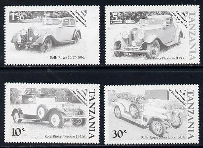 Tanzania 1986 Centenary of Motoring set of 4 values each in perforated colour proofs in black only (4 proofs as SG 456-59) unmounted mint