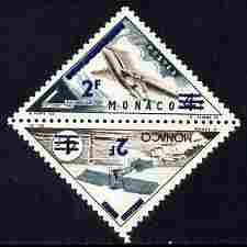 Monaco 1956 Postage Due 2f on 4f Triangular (Monoplane & Comet) overprinted & surcharged for Postage se-tenant pair unmounted mint, SG 555a