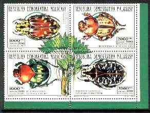 Madagascar 1993 Insects se-tenant block of 4 unmounted mint