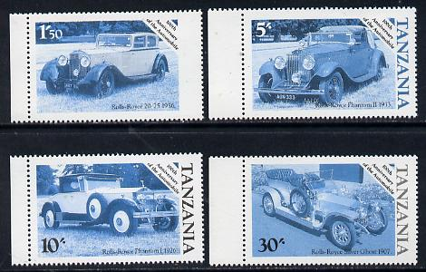 Tanzania 1986 Centenary of Motoring set of 4 values each in perforated colour proofs in blue & black only (4 proofs as SG 456-59) unmounted mint