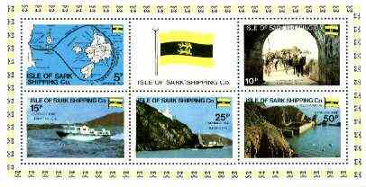Isle of Sark Shipping Co perf sheetlet containing set of 6 (Map, Flag Ships, etc) unmounted mint, stamps on ships, stamps on flags, stamps on maps