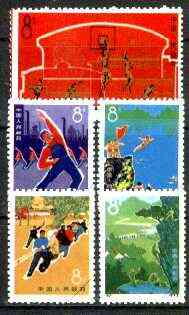 China 1972 Physical Culture reprint set of 5 (with diag line across corner) unmounted mint as SG 2480-84