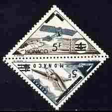 Monaco 1956 Postage Due 5f on 4f Triangular (Monoplane & Comet) overprinted & surcharged for Postage se-tenant pair unmounted mint, SG 559a