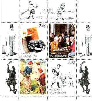 Tadjikistan 1999 Origin Of Sports perf sheetlet containing set of 4 (Chess, Table Tennis, Golf & Baseball with Cricket in margins) unmounted mint