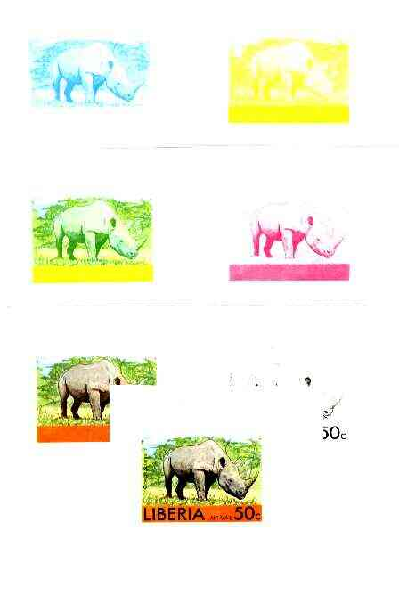 Liberia 1976 Animals 50c Rhinoceros the set of 7 imperf progressive proofs comprising the 4 individual colours plus 2, 3 and all 4-colour composites, a very rare proof as...