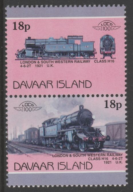 Davaar Island 1983 Locomotives #1 L&SW Class H16 4-6-2T loco 18p se-tenant pair with yellow omitted unmounted mint