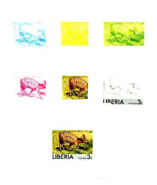 Liberia 1976 Animals 3c Striped Antelope the set of 7 imperf progressive proofs comprising the 4 individual colours plus 2, 3 and all 4-colour composites unmounted mint, ...